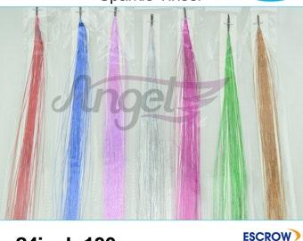 "6pcs 24""/60cm 100 strands Sparkle Glitter Twinkle Dazzle Tinsel 7 colors optional holographic bling tinsel"