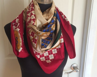 Vintage Large Square Equestrian Scarf in Red, Blue, Green and White Made in Italy