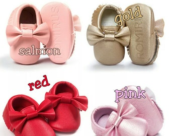 Baby Fashion Soft Sole Leather Shoes with Bows / Toddler Infant Boy/Girl Tassel Moccasin