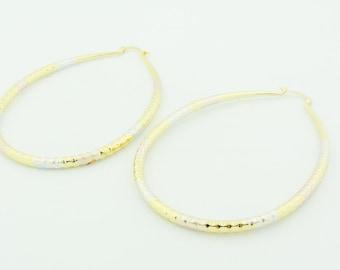 Gold Plated Shiny Cut Oval Hoop Earrings
