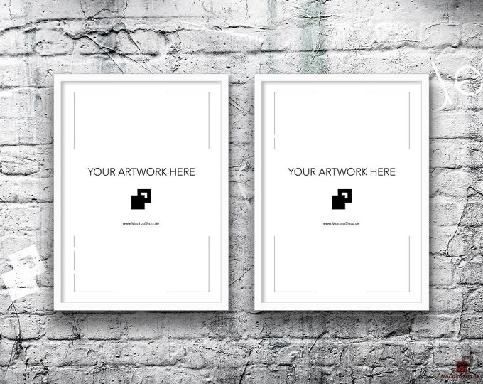 5x7 Set of 2 Frames WHITE FRAME MOCKUP, Vertical, Styled Photography Poster Mockup, old White Brick Background, Framed Art, Instant Download