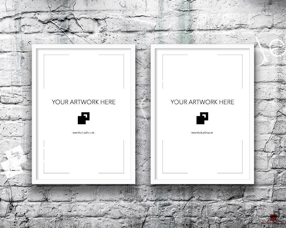 5x7 set of 2 frames white frame mockup vertical styled photography poster mockup old white brick background framed art instant download
