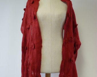 Artsy red mohair shawl. One-of-a-kind, fashion and casual together.