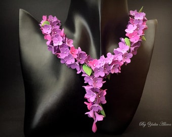 Lilacs flowers necklace, Purple lilac, Jewelry of lilac, Flower necklace, Purple flowers, Lilac flowers, Floral necklace, Polymer clay lilac