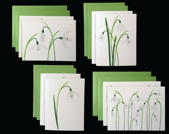 White Snowdrop - 2 Sets of 4 Greeting Cards w/ Green Envelopes