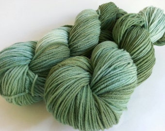 Hand Dyed Yarn,  Worsted Weight Yarn, Hand Painted Yarn, 100% Superwash Merino Yarn, Green