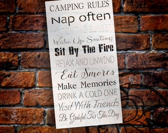 "Camping Rules Word Stencil - 12"" x 25"" - STCL1451_1 - by StudioR12"