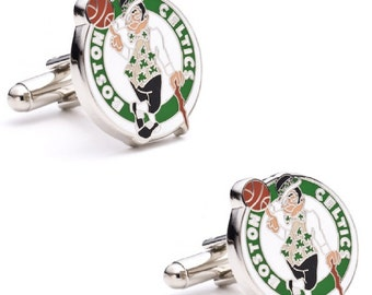 Boston Celtics Cufflinks Cuff Links Best man Groomsmen Wedding Gift Father's Day Graduation Dad Birthday Basketball