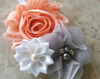 Peach and Gray Headband  - Peach Headband - Newborn Headbands - Flower Girl Headband - White Headbands - Gray Headband - Infant Headbands