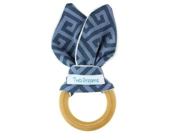 Blue Natural Organic Wooden Teething Ring Toy Natural Maple Teething Ring Triangle Teether Toy Bamboo Organic Terry Baby Teething Ring