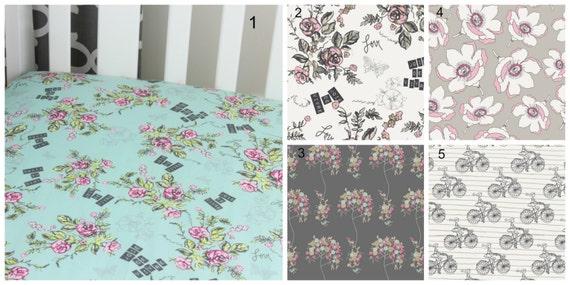 Floral Cotton Crib Sheet French Theme Joie De Vivre Changing Pad Cover Baby Crib French Crib Nursery Roses Aqua Gray Bicycle Crib Sheet Pink
