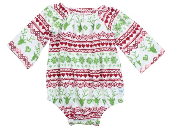 Christmas Baby Romper Long Sleeve Toddler Romper Romper with Snaps Peasant Dress Outfit First Christmas Deer Romper Fairisle Dress
