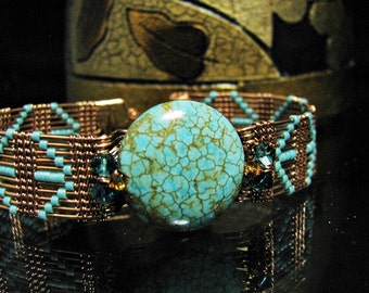 Copper Woven Turquoise Howlite Bracelet with Swarovski Crystals,Copper Wire,Wire WovenJewelry