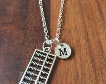 Abacus initial necklace, abacus jewelry, accountant necklace, gift for math teacher, silver abacus necklace, teacher jewelry, math jewelry