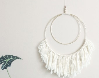 Large double brass circle with white fringe wall hanging. Handmade. Geometric. Modern. Minimal. Natural. Home. Wall decor.