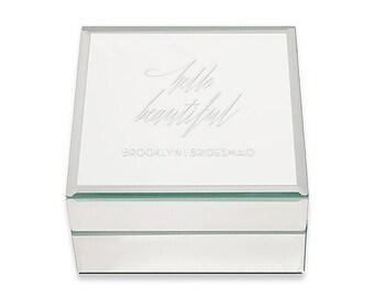 Personalized Jewelry Box - Hello Beautiful - Mirrored Jewelry Box -  Unique Jewelry Box - Personalized - Gift - Present - Unique Gift - Xmas