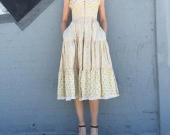 vintage 70s gunne sax jessica mcclintock hippie summer dress size xsmall womens