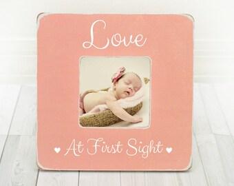 BoyGirl Pregnancy Frame New Mom Gift Baby Shower Gift Ultrasound Frame New Baby Frame Sonogram Frame Gender Reveal Love at First Sight frame