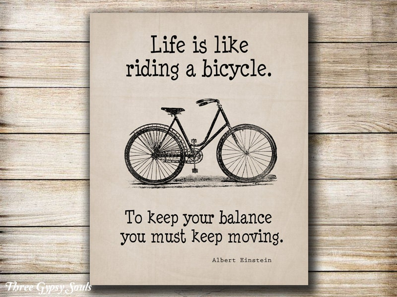 PRINTABLE ART Bicycle Wall Art Albert Einstein Quote Life Is