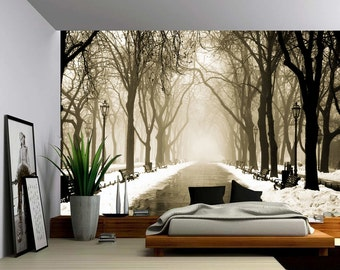 Winter Downtown City Street - Large Wall Mural, Self-adhesive Vinyl Wallpaper, Peel & Stick fabric wall decal