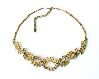 Vintage Coro necklace purple rhinestone necklace garland necklace floral collar necklace