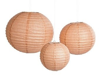 DIY Burlap Print Paper Lanterns {Set of 6} | Paper Lanterns | Burlap Lanterns