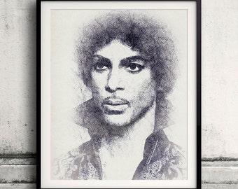 Prince portrait 01 in pen & watercolor - Fine Art Print Glicee Poster Gift Illustration Artist Poster - SKU 2129