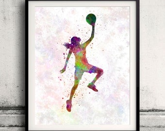 Young woman basketball player 02 - Fine Art Print Glicee Poster Home Watercolor Basket Gift Room Children's Illustration Wall - SKU 1783
