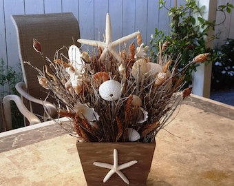 Sea Shell Centerpiece/Bouquet in 3 Different Sizes with Natural Brown Wheat & Birch Twigs