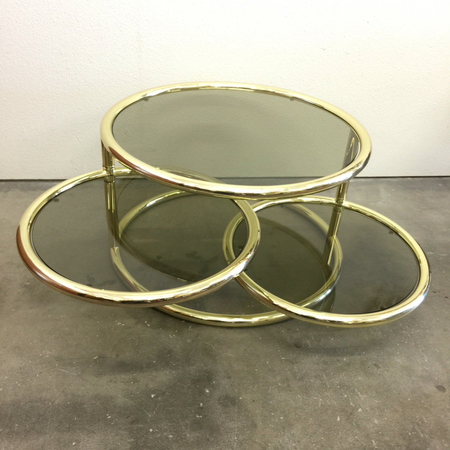 Brass and glass coffee table small round coffee table Brass round coffee table