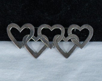 Sterling Silver Interlocking Hearts Brooch - Gorgeous Patina
