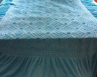 Turquoise Dellinger vintage chenille bedspread