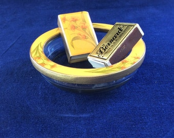 Vintage enamel ashtray by Bernard with match cover
