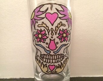 Neon Sugar skull glitter glass