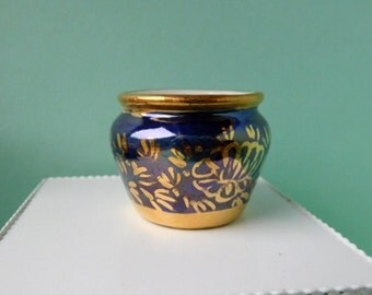 Gorgeous Deep Blue and Gold 12th Scale Porcelain Bowl