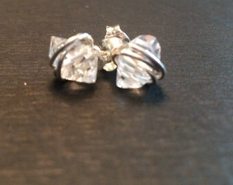 Raw Quartz Studs Handwrapped in Sterling Silver Wire