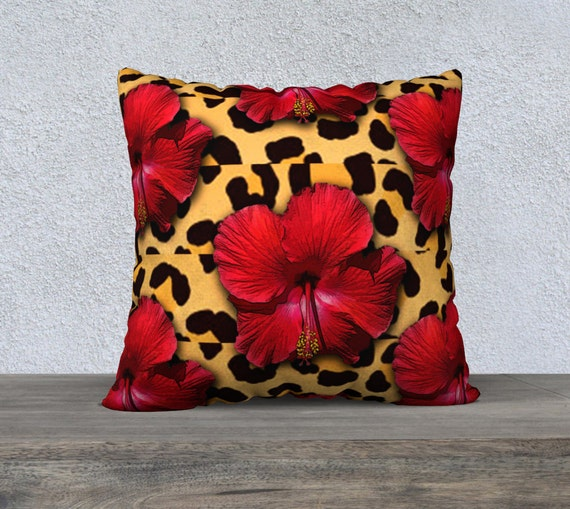 Leopard Pillow Cover Floral Pillow Cover Throw by JDzigner