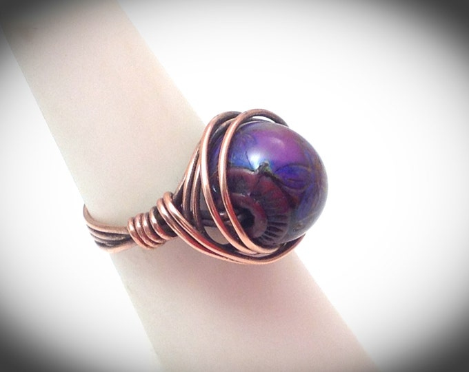 Copper wire wrapped mood ring