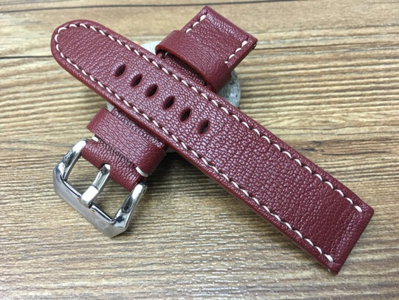 Leather watch strap, Leather watch band for Panerai Watch, 24mm, 26mm, leather watch strap, Handmade, leather watch strap - Free Shipping