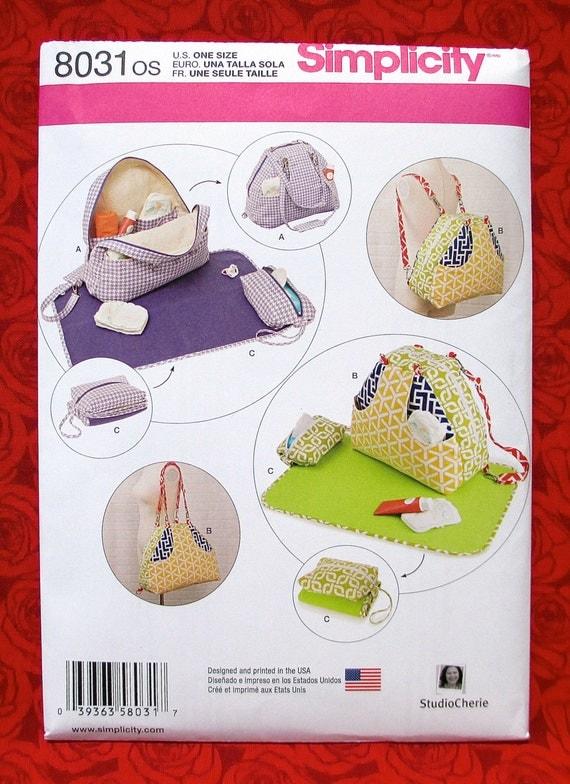 simplicity sewing pattern 8031 diaper bag backpack shoulder. Black Bedroom Furniture Sets. Home Design Ideas
