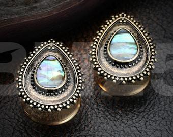 A Pair of Golden Vintage Chakra Abalone Ear Gauge Plug