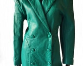 Vintage 80's / 90's emerald green leather trench blazer dress