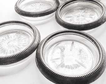Silver Coasters, Vintage Coasters, Glass Coasters,  Antique Silver Coasters, Silver Rim Coasters, Pressed Glass Coasters, Made in Italy