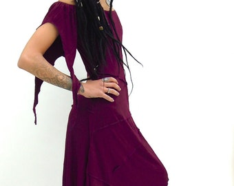 Goddess Dress Midi Dress Pixie Style Fairy Pointy Sleeves Festival Fashion Asymmetric Sized PsyTrance Clothing