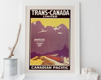 CANADA Travel Poster - Train Travel Print - Professional Reproduction Canadian Pacific Poster Art Deco Poster Trans Canada Limited Railroad