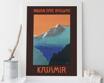 kashmir travel poster india travel poster india poster art deco poster 1920s travel art frame ready ikea ribba size india travel poster