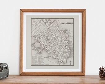 Vintage Charleston Map Retro Map Print Minimalist Map Art Professional Reproduction