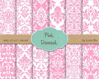 """Pink Damask Digital Paper: """"Pink Damask Patterns"""" pink digital paper, for cardmaking, invitations,pink scrapbooking paper"""