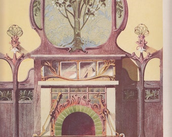 "Art Nouveau Project For A Fireplace By Bonvallet,1911 Print,Le Journal de la Decoration,10"" X 14"""