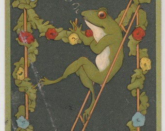 1907 Italia Genova Antique Postcard Frog Lounging Between Floral Covered Poles